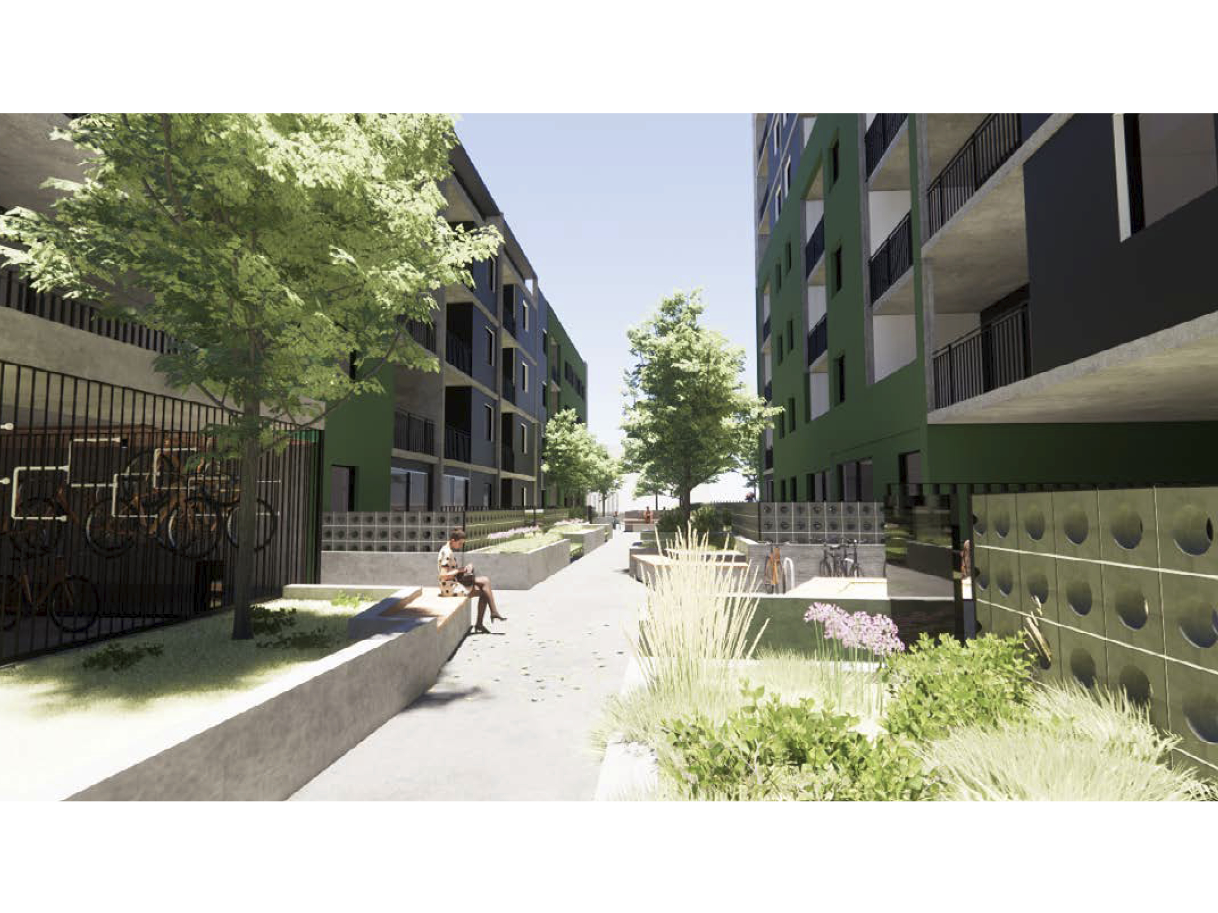 Artist impression of the new development showing the community link looking towards the courtyard. A bike cage is visible.