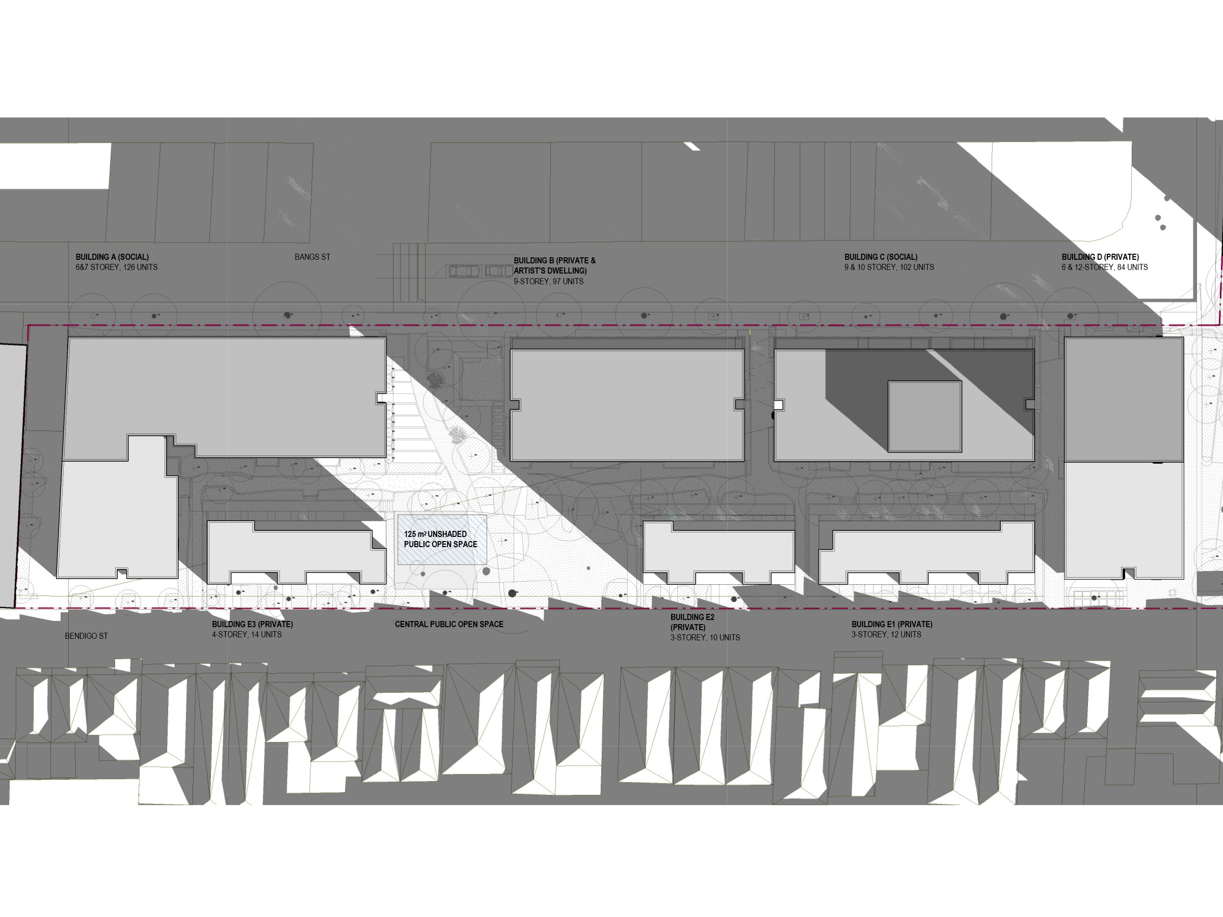 Diagram showing the shadows created by the new development in June at 9am