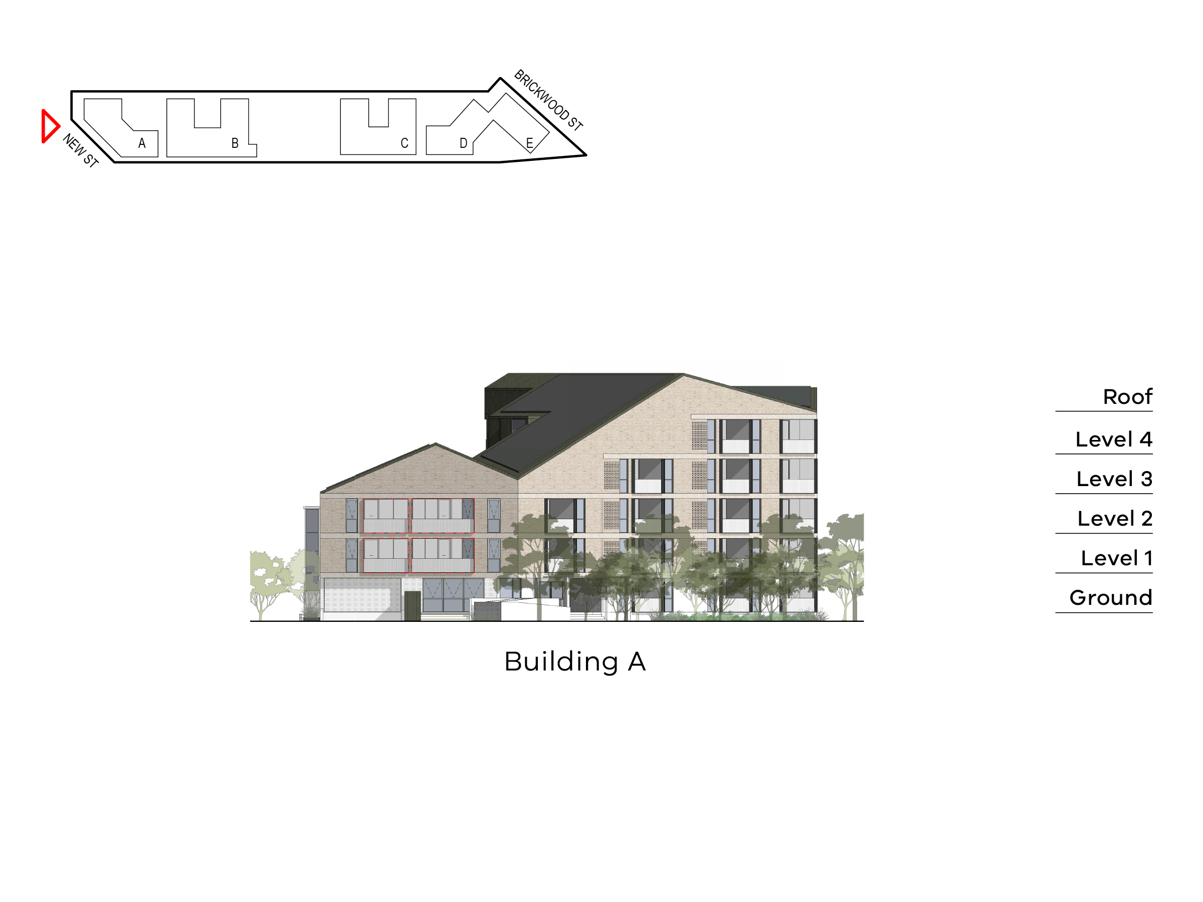 Diagram showing the heights of building A as seen from New Street and Rusden Street. Building A includes ground level, level 1 - 4 and a roof on the Elster Creek side, ground level, level 1-2 and a roof on the Rusden Street side