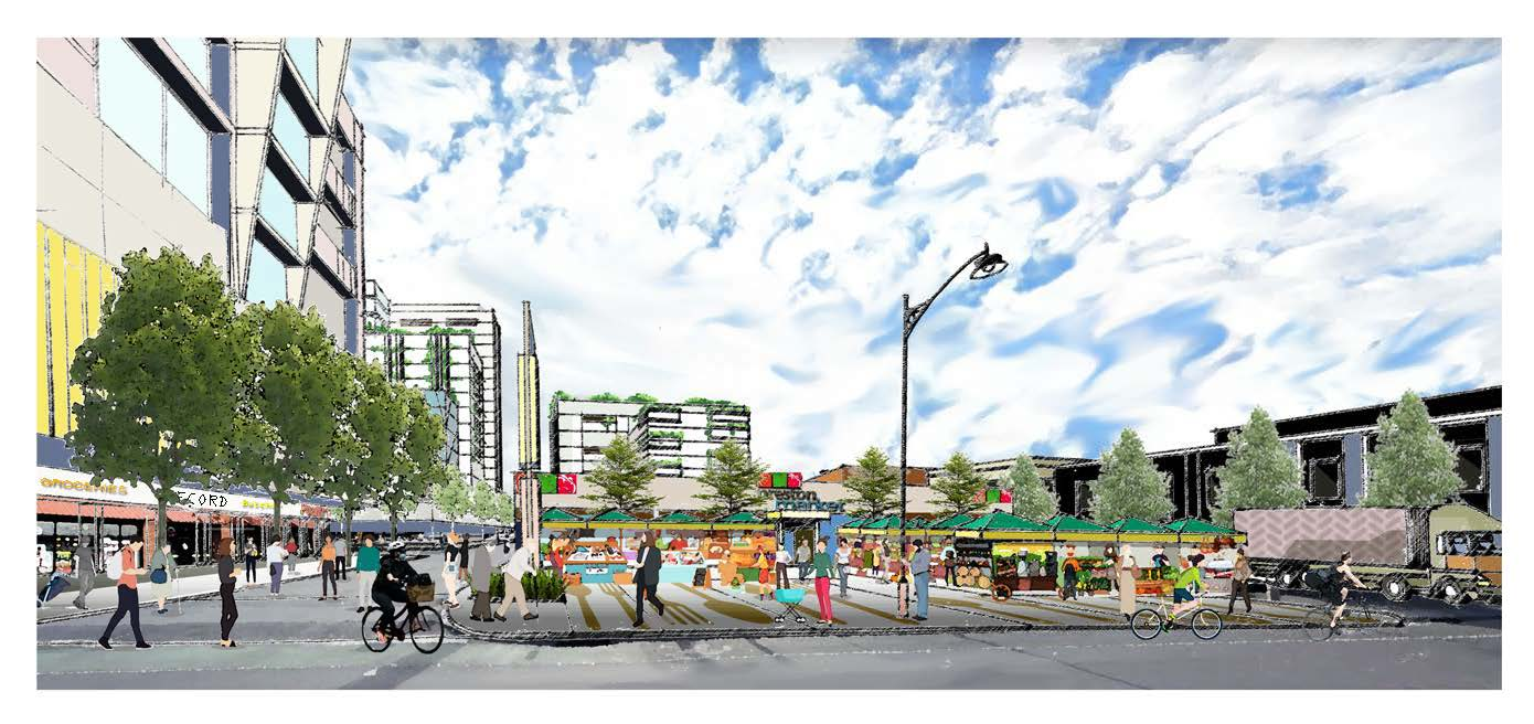 Artists' impression of the future market, showing the entrance from Carmer Street, with open stalls and a high roof