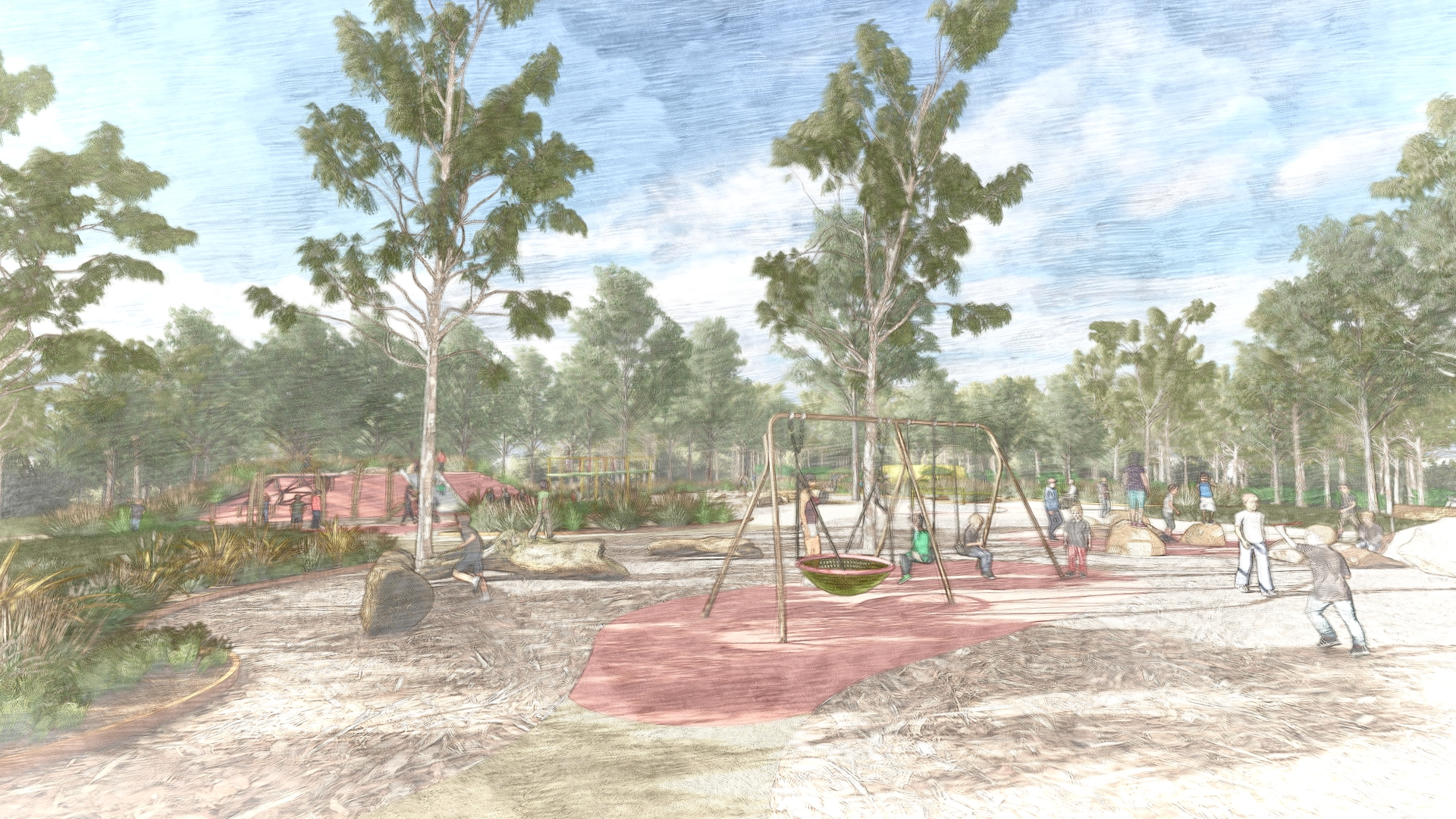 Net swing in foreground with tall eucalypts and children running. Boulders and garden areas.