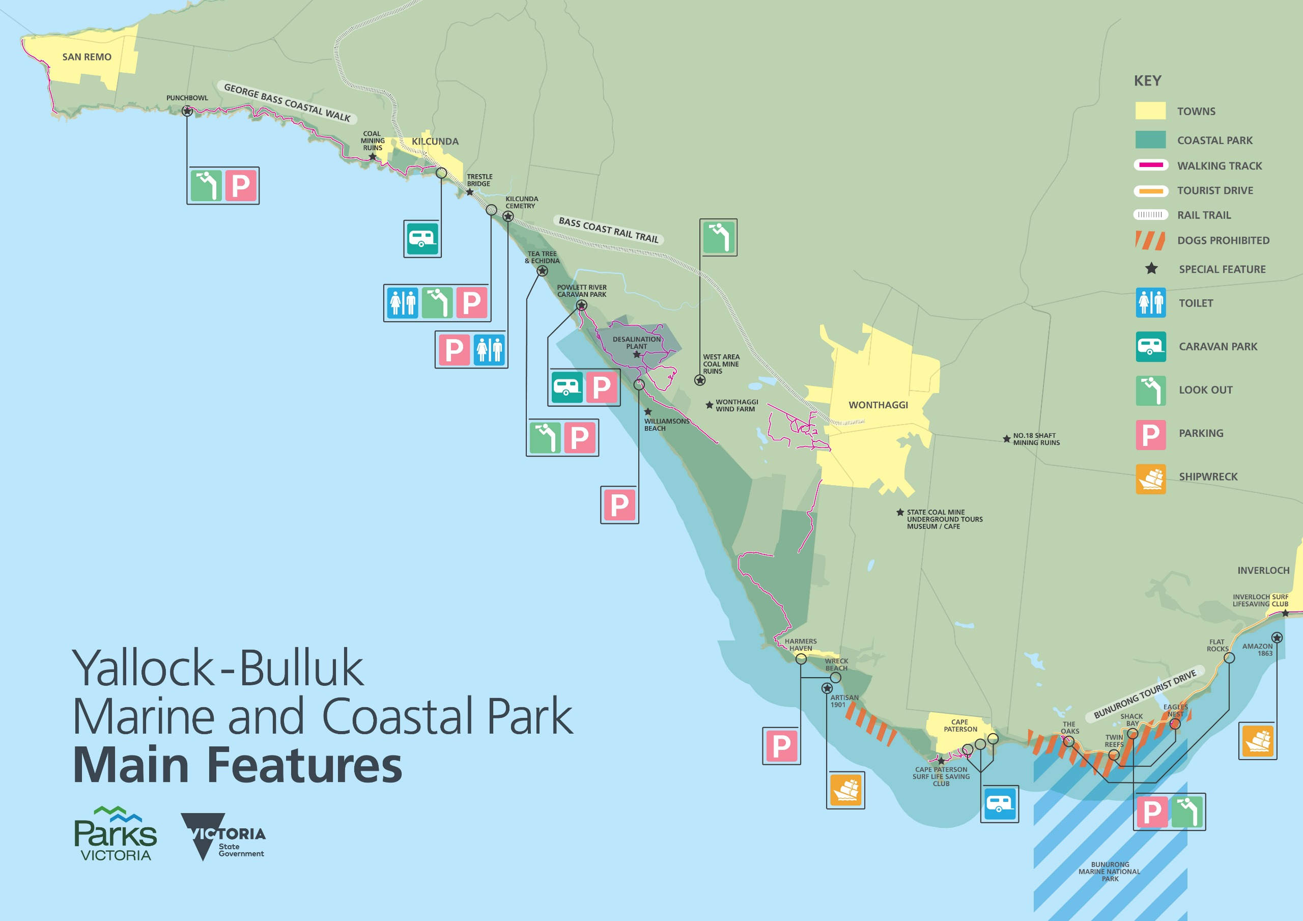 Map of coastline from San Remo to Inverloch. From west to east, this includes: San Remo; Punchbowl (look out, parking); George Bass Coastal Walk; Coal Mining Ruins; Kilcunda (Caravan Park); Trestle Bridge; Bass Coast Rail Trail (toilets, lookout and parki