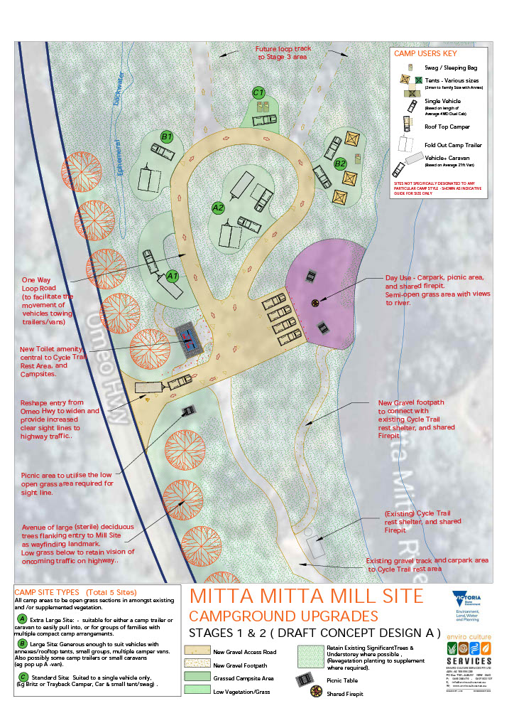 Concept A - 5 campsites and a day visitor area. Specific improvements include 1. Re-shape entry from Omeo Highway to increase sight lines for traffic entering and exiting the campground. 2. New toilet amenity block central to the cycle trailhead and campg