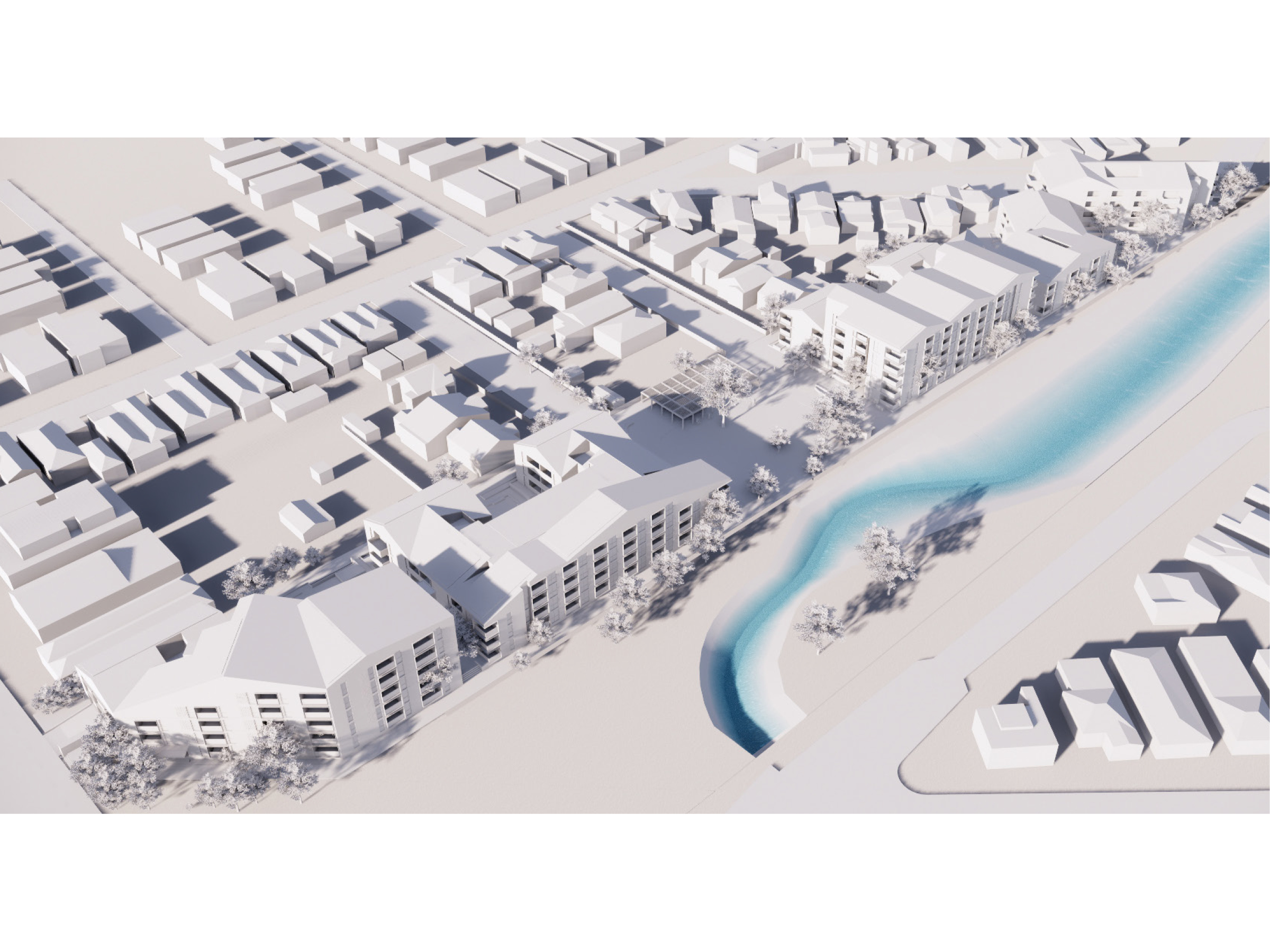 Artist impression showing an aerial view of the new development looking north-east from New Street
