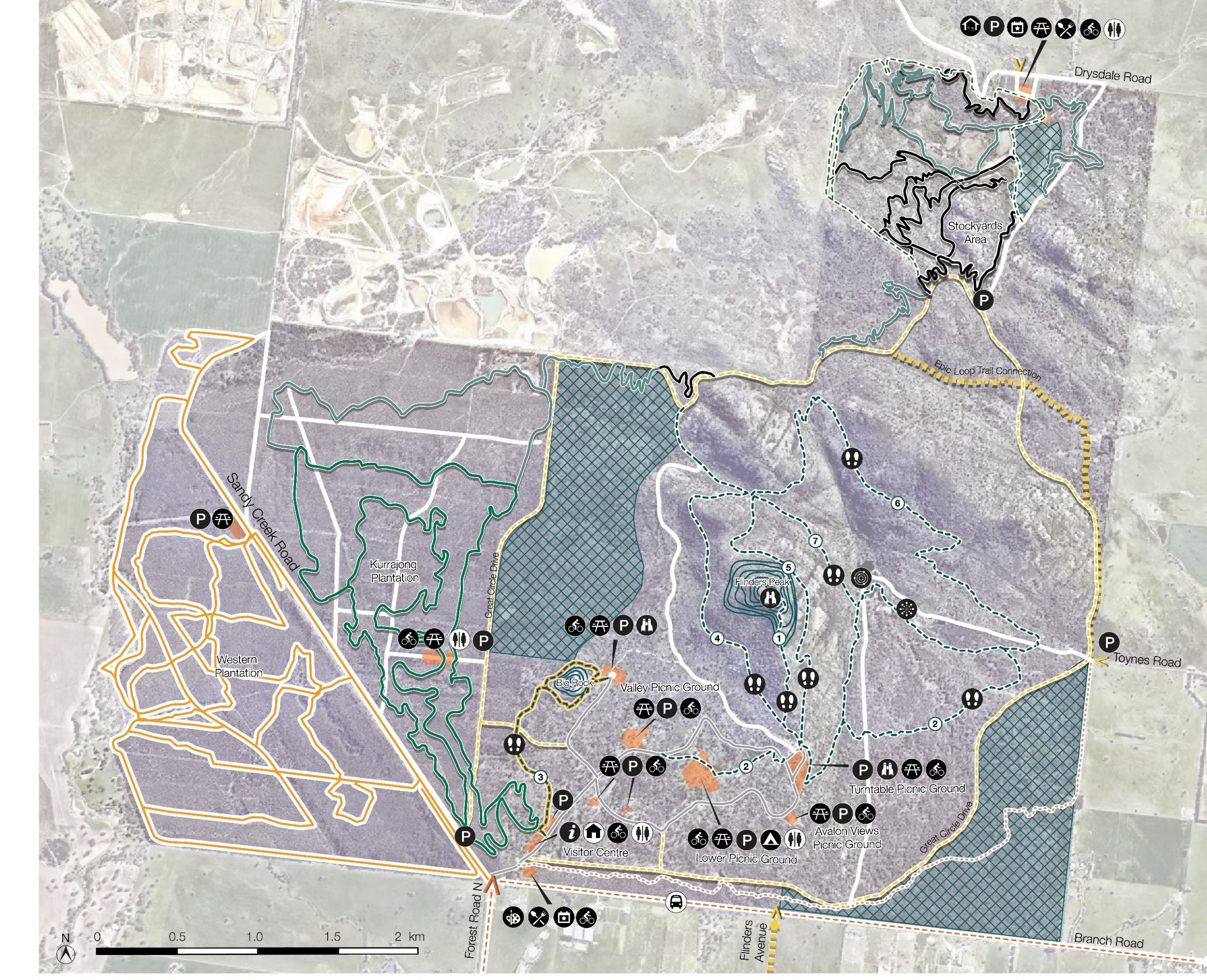 Interactive map of the You Yangs and the proposed initiatives