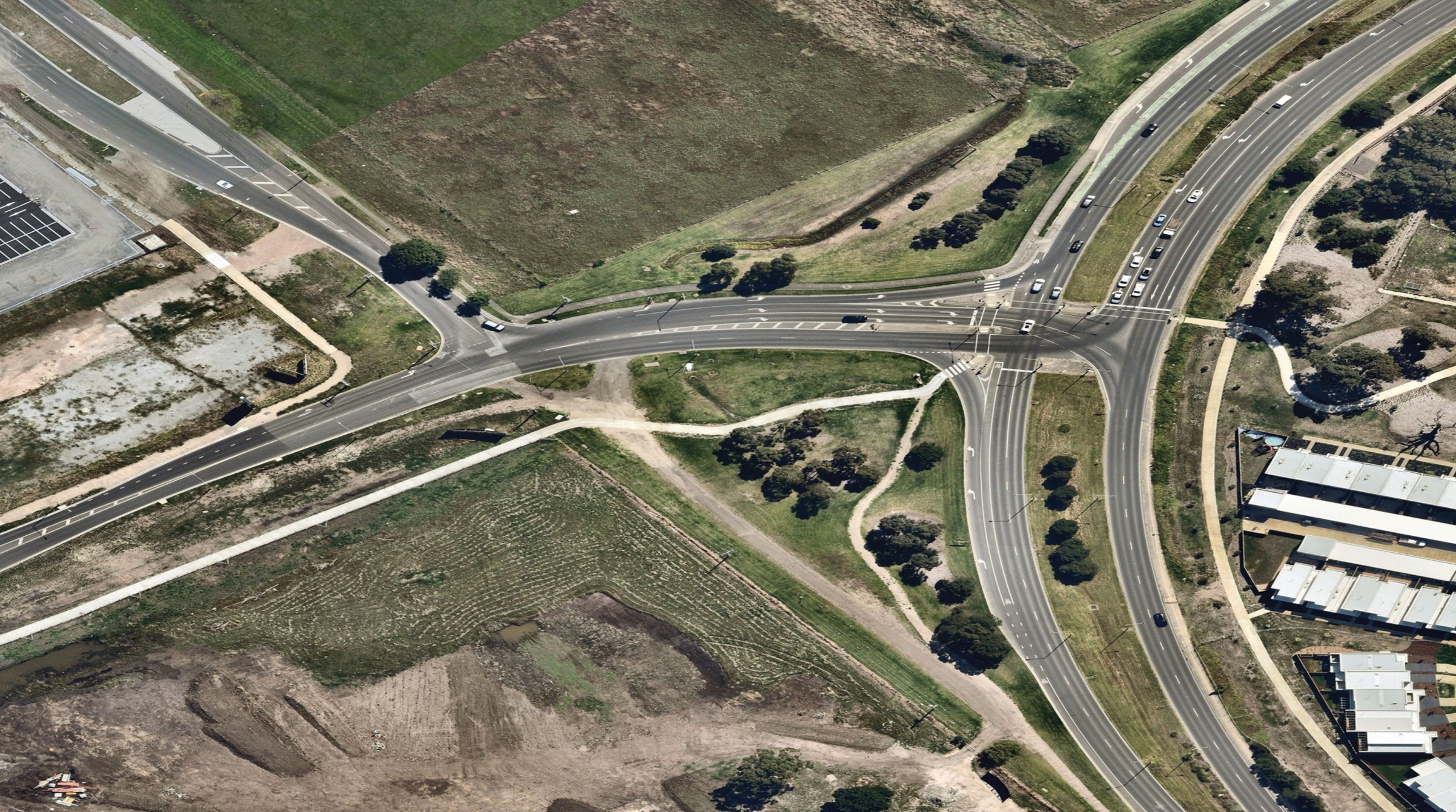 Aerial view of the existing Evans Road intersection