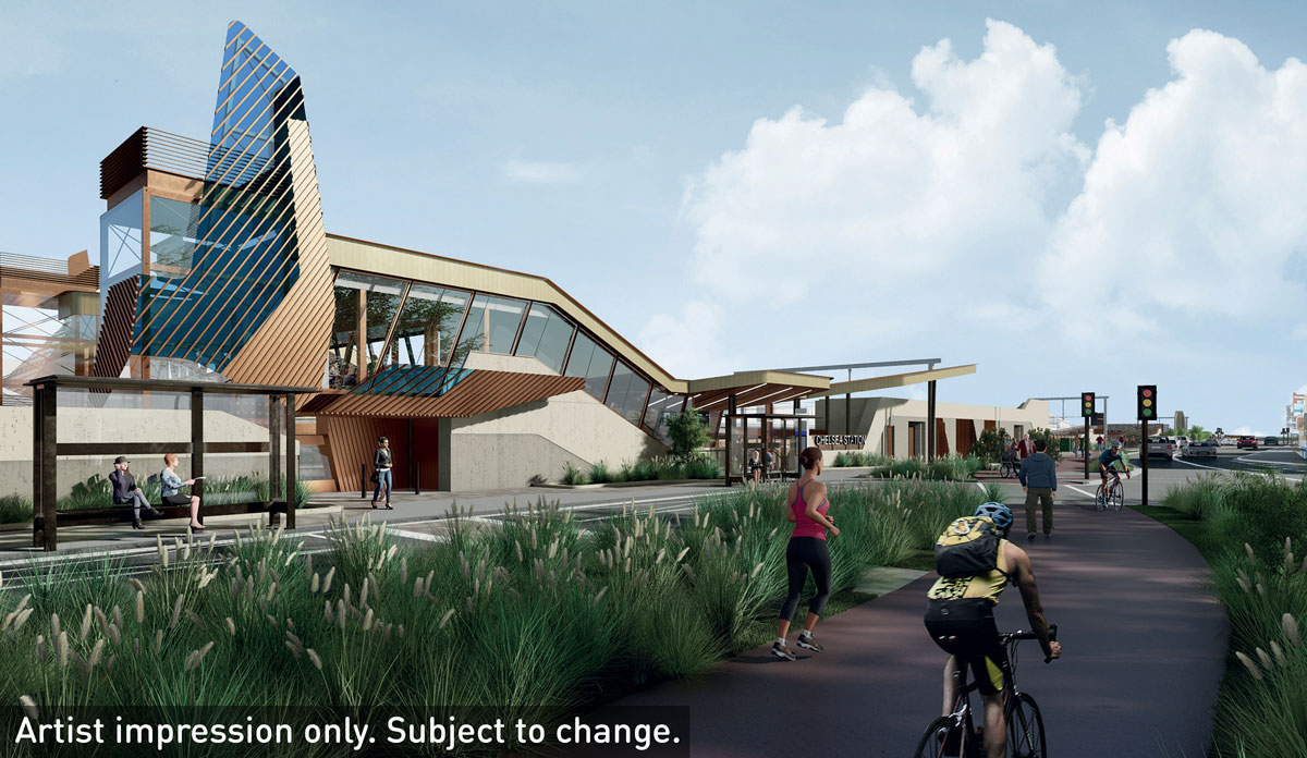 Artist impression of Chelsea Station at completion includes the new station building, a sheltered bus stop, pedestrians and a cyclist using the new path connection to the station and a signalised pedestrian crossing.