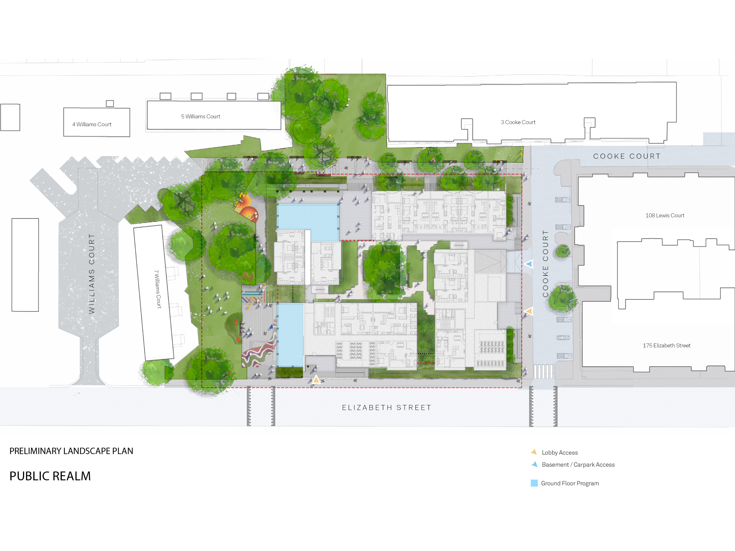 This plan shows the proposed development on the corner of Elizabeth Street and Cooke Court. Existing buildings around the proposed development are: 175 Elizabeth Street and 108 Lewis Court in the east, 3 Cooke Court, 4 and 5 Williams Court in the north and 7 Williams Court in the west. Green space found on the west and north side of the development and in between 5 Williams Court and 3 Cooke Court will be maintained. The existing pedestrian path connects Cooke Court with Williams Court on the north side of the new development will remain with new landscape edge between the new and existing spaces. There's also a private podium garden in between the 4 proposed buildings.  The entries to the Building are well defined on Elizabeth Street and on Cooke Court opposite 175 Elizabeth Street, each with secure bicycle stores conveniently located with easy access via stairs or ramp from the street. Residents may also access the building via the private podium garden from the North pedestrian path between Cooke Court and Williams Court.
