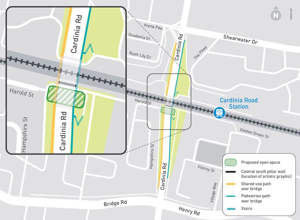 Map showing the Cardinia Road bridge and the location of the open space underneath, just south of the rail line.