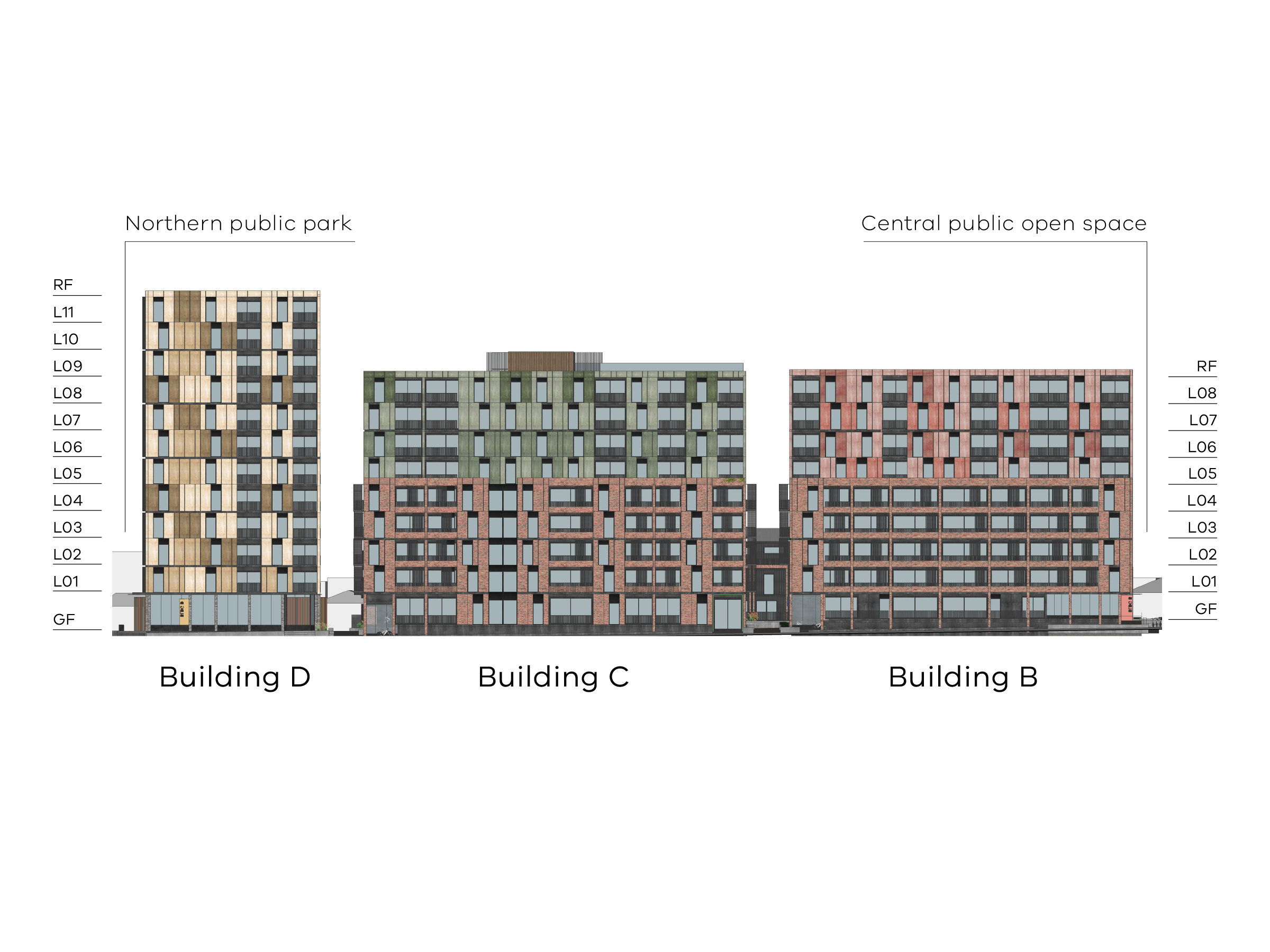 Diagram showing the heights of buildings B, C and D as seen from Bangs Street. Buildings B and C have a ground floor, levels 1-8 and a flat roof.
