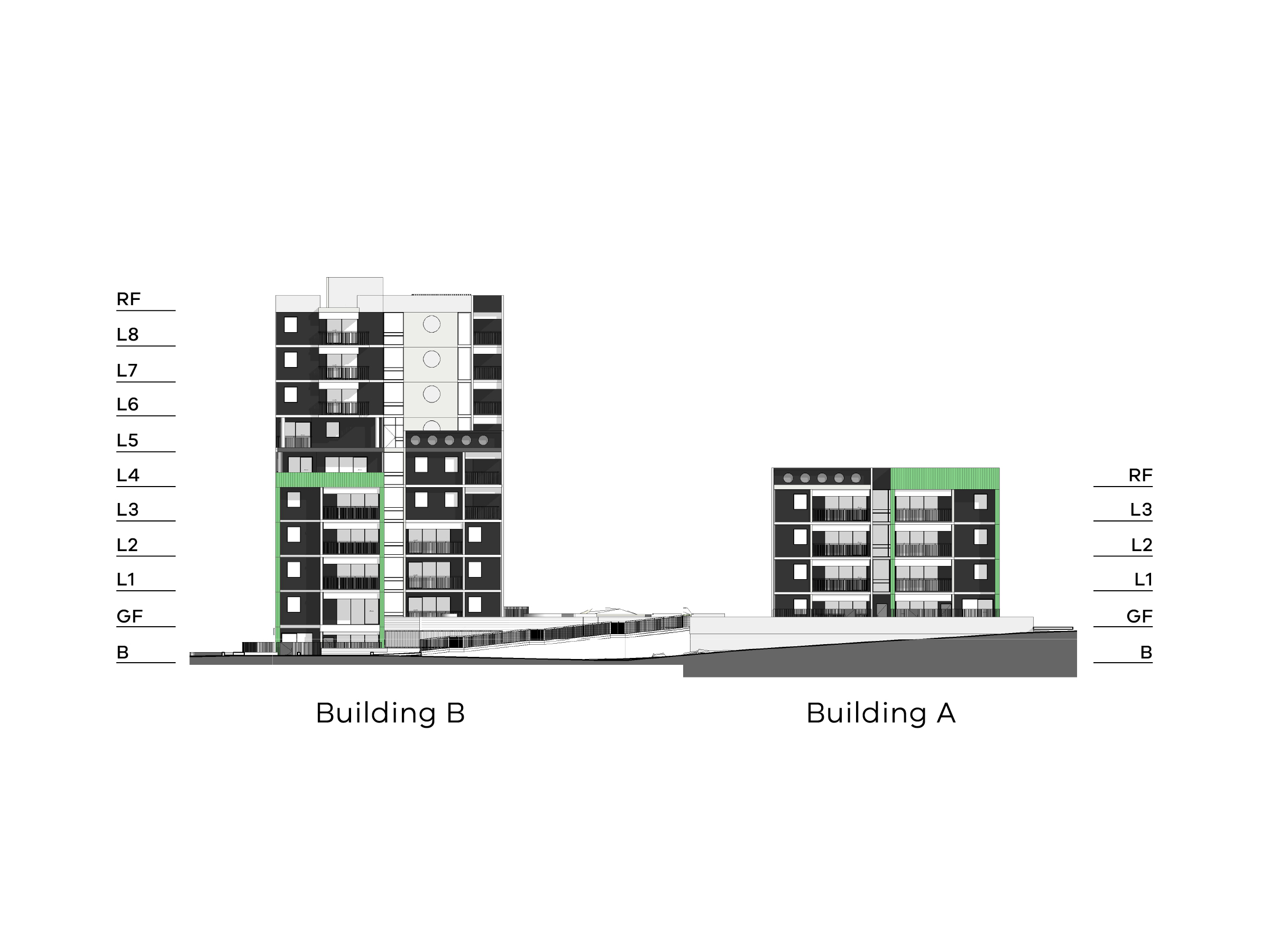Diagram showing the heights of buildings A and B as seen from Debneys Park. Building A has a basement, ground floor, level 1-3 and a flat roof. Building B has a basement, a ground floor, level 1-8 and a flat roof.