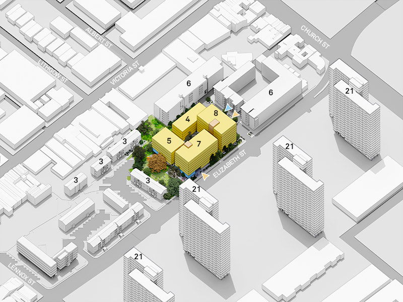 This plan shows the location and number of storeys of the proposed 4 new buildings on the corner of Elizabeth Street and Cooke Court as well as the number of storeys of the existing surrounding buildings. It's looking north. The south-east building on the corner of Elizabeth Street and Cooke Court will have 8 storeys, the south-west building along Elizabeth Street will have 7 storeys, the north-east building along Cooke Court will have 4 storeys and the north-west building nearest to 5 Williams Court will have 5 storeys. The existing buildings on the south side of Elizabeth Street each have 21 storeys, 175 Elizabeth Street, 108 Lewis Court and 3 Cooke Court each have 6 storeys and 3, 4, 5 and 7 Williams Court have 3 storeys each.