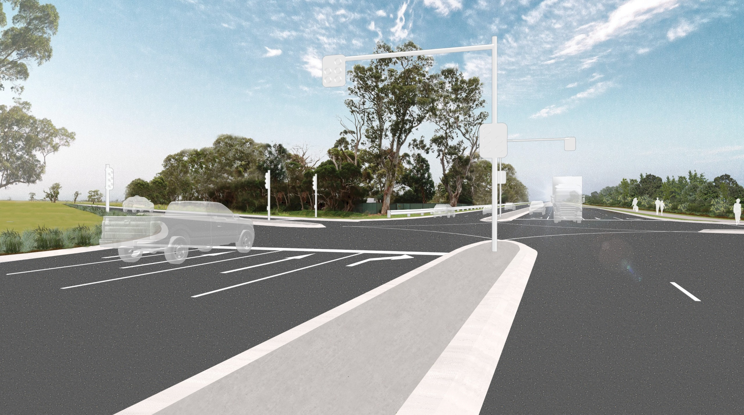 Artist's impression of Taylors Road intersection 15 years after project completion