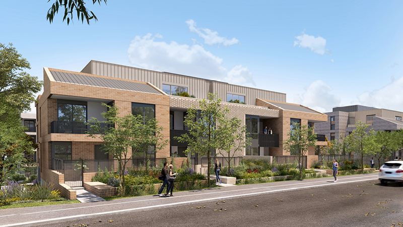 Artist impression looking at building D from Markham Avenue. It shows trees and plants in front of the building.