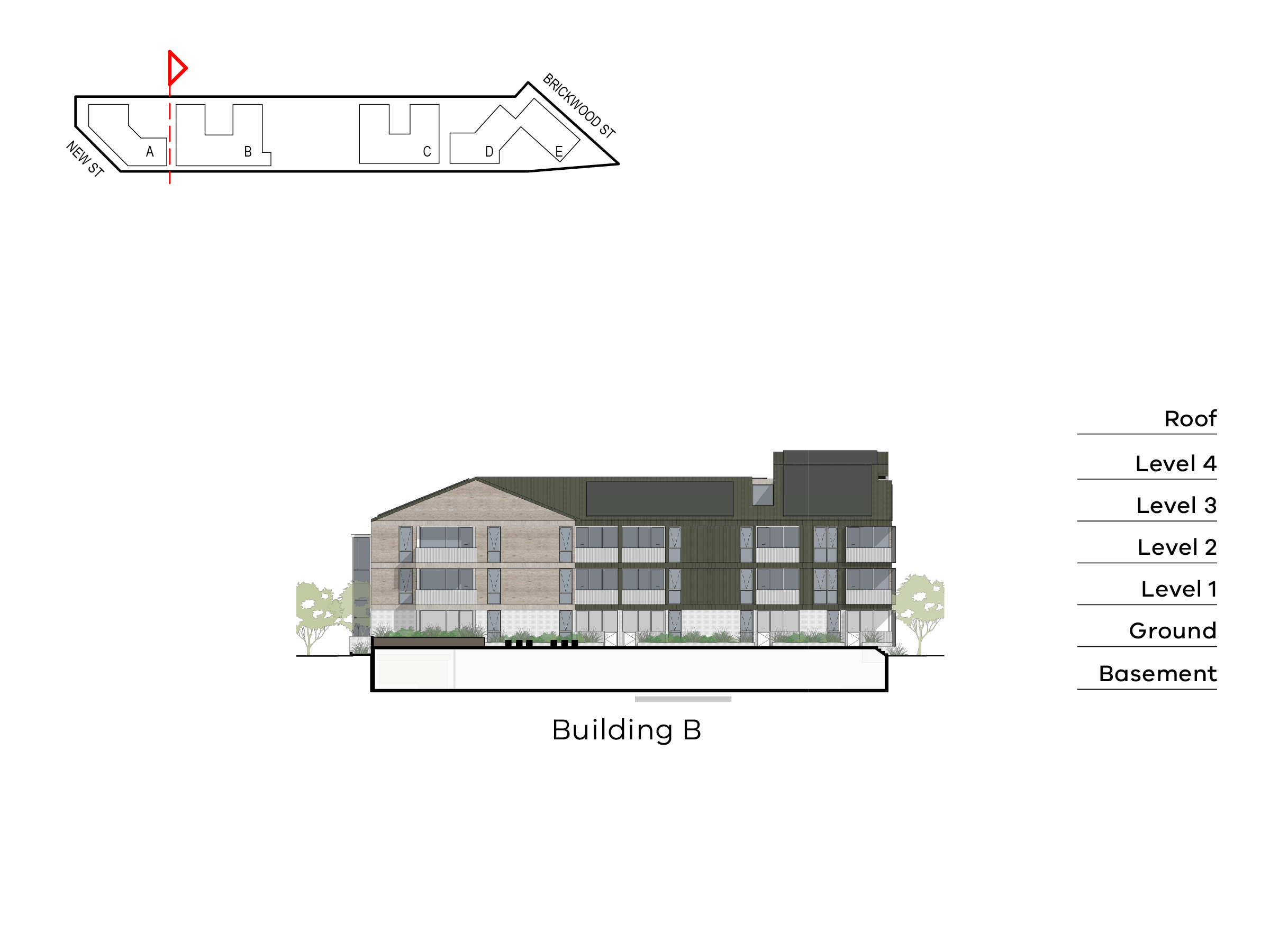 Diagram showing the height of building B as seen from building A towards Brickwood Street. Building B has a basement. ground level, floor 1-2 and a roof.