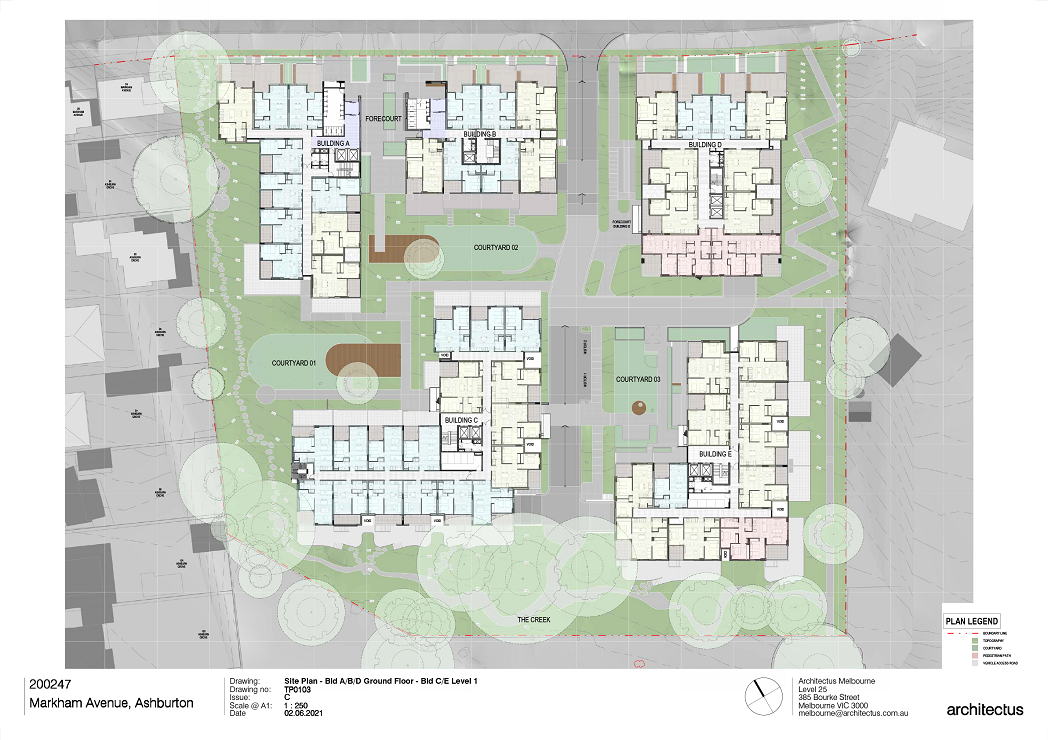 There are 5 buildings shown on this plan. Ground floor plans for Buildings A, B and D to the North and Level 1 Plans for Buildings C and E to the South.  Buildings A and B have their main entries located to the North facing Markham Avenue.  All the apartments facing Markham Avenue have Ground Level Private open space.  Building D is showing a mix of 1,2 and 3-bedroom apartments on Ground floor.  Building C Level 1 to the south west is showing a mix of 1- and 2-bedroom apartments.  Building E Level 1 to the south east is showing a mix of 1-, 2 and 3-bedroom apartments.
