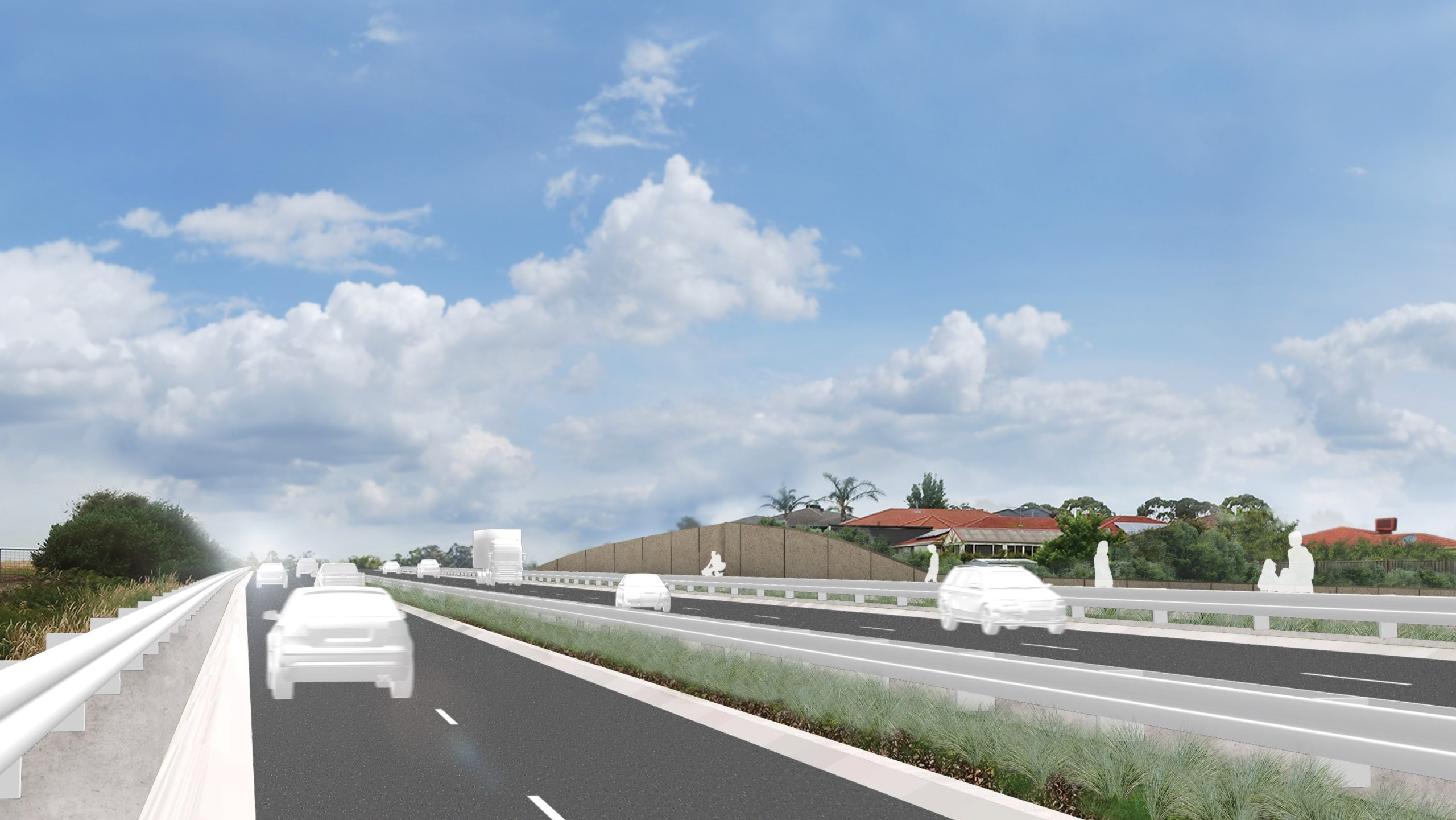 Artist's impression of cars driving on Hall Road 15 years after project completion