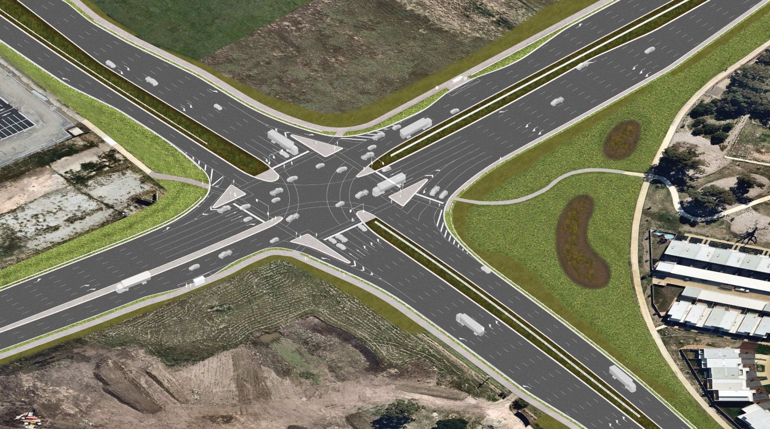 Aerial view artist's impression of Evans Road 1 year after project completion