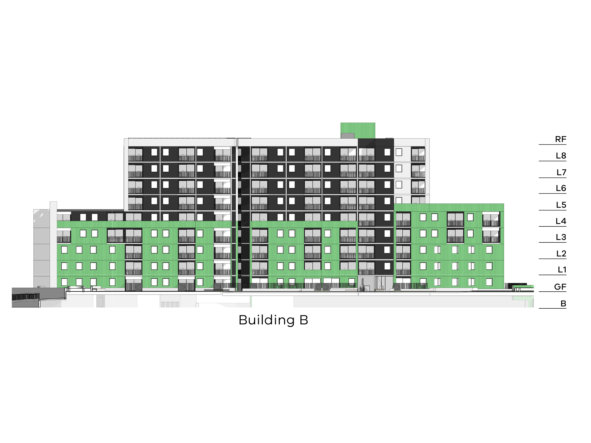 Diagram showing the height of building B as seen from the on-site walkyway looking towards New Holland Crescent. Building B has different heights. The side closest to Debneys Park has a basement, ground level, level 1-4 and a flat roof. The middle part of the building has a basement, ground floor, level 1-8 and a flat roof. The side closest to Hill Street has a basement, ground floor, level 1-4 and a flat roof.