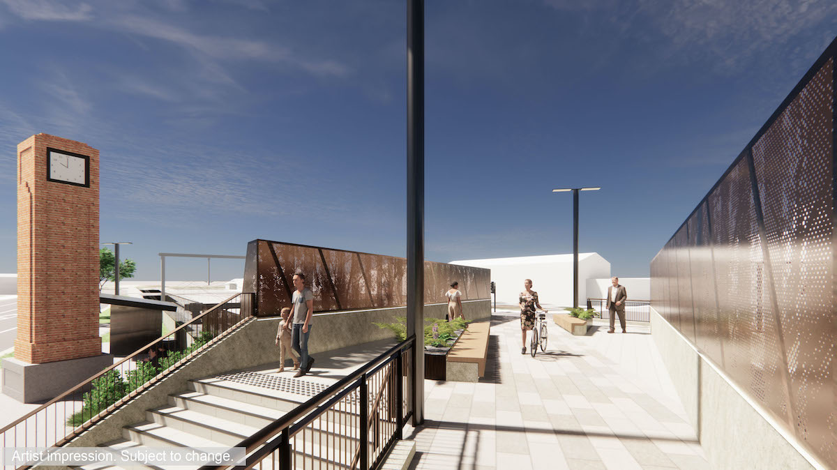 The pedestrian bridge will include a brick clock, stairs and ramps for access, and seating and planting blocks.