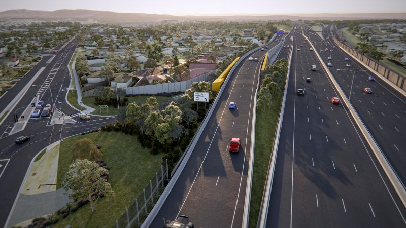 Artist's impression of the new elevated road that connects the existing Jacksons Road outbound entry ramp to EastLink.