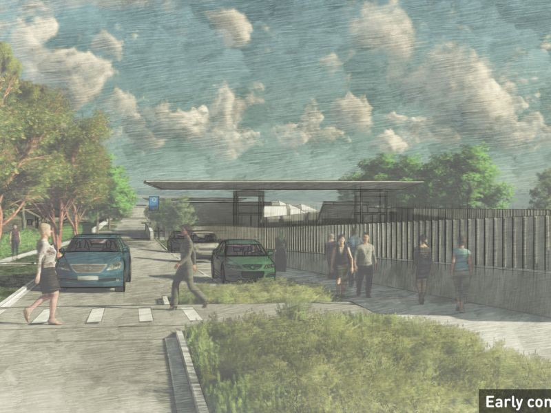 Artist impression showing the station entrance, Mont Albert, featuring pedestrian crossings across the road and kiss and ride car parking.