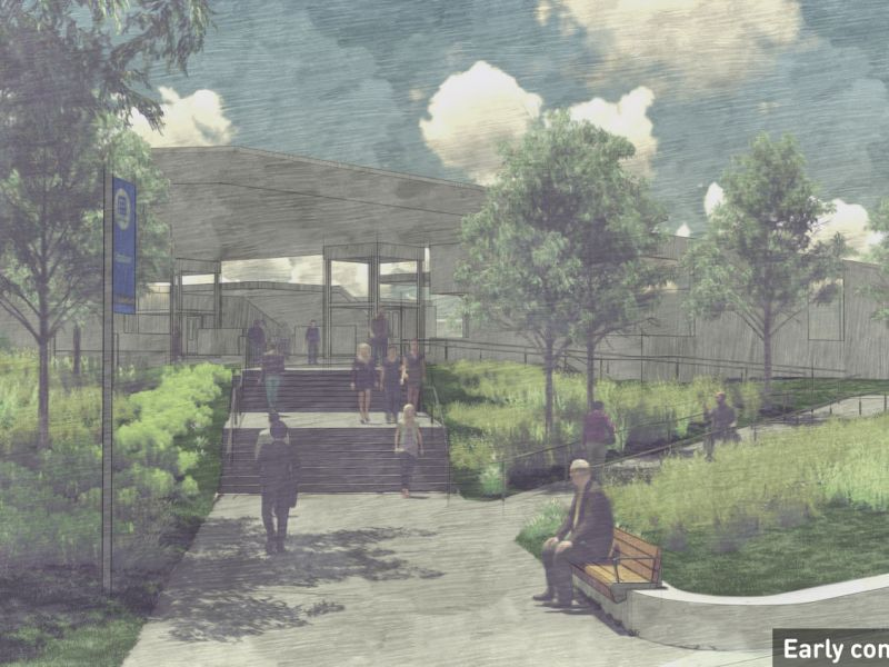 Artist impression showing the southern station entrance, Surrey Hills, featuring steps and ramps to the entry, canopy trees and shrubs.