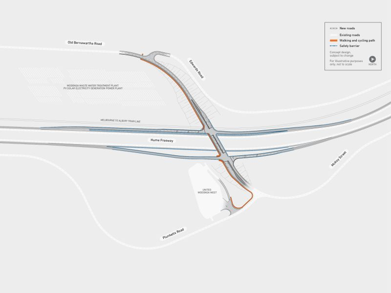 Map showing Eastern overpass across the Hume Freeway and rail line with full diamond interchange