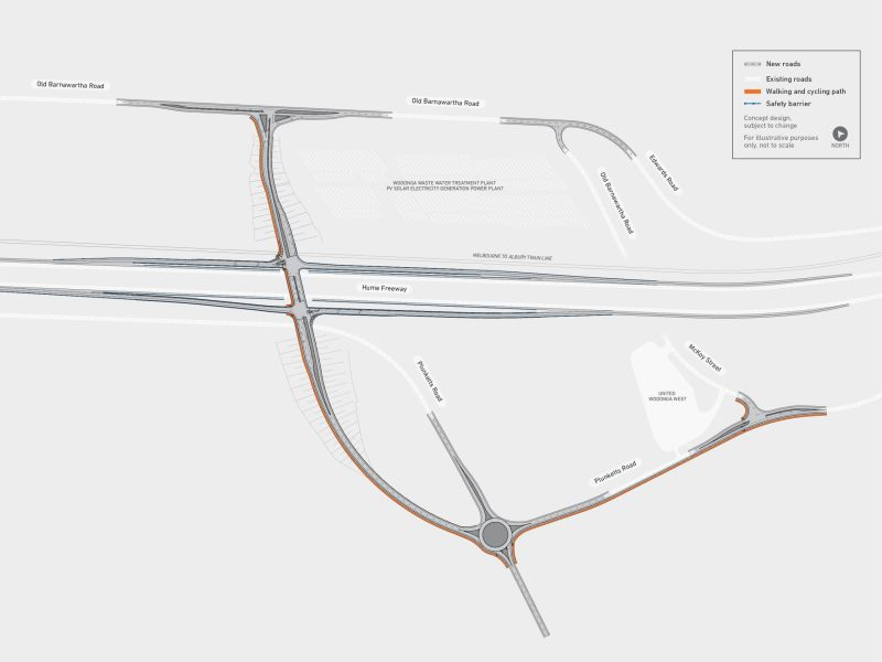 Map showing Western overpass across the Hume Freeway and rail line with full diamond interchange
