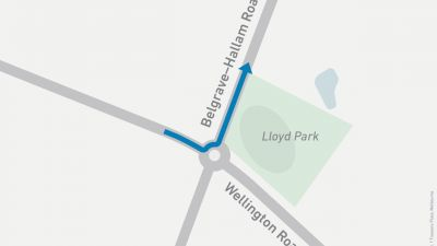 Map showing left turn onto Belgrave-Hallam Road from Wellington Road