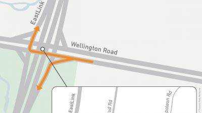 Map showing entry turns onto EastLink from Wellington Road