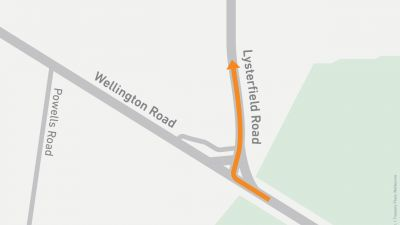 Map showing right turn onto Lysterfield Road from Wellington Road