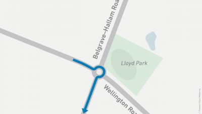 Map showing right turn onto Belgrave-Hallam Road from Wellington Road