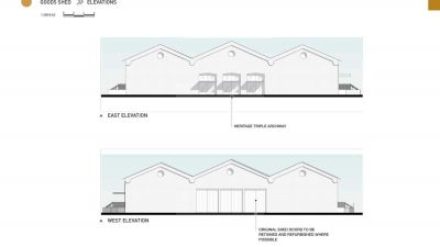 Goods Shed east and west elevations