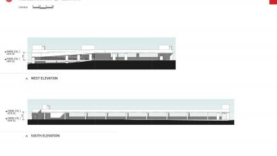 Multi deck car park - west and south elevations