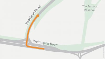 Map showing right turn onto Napoleon Road from Wellington Road