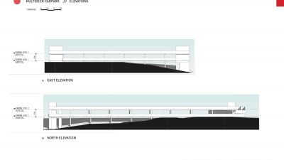 Multi deck car park - east and north elevations