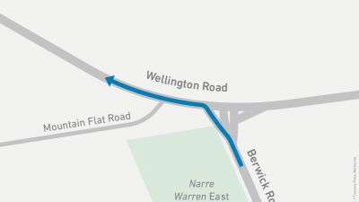 Map showing left turn onto Wellington Road from Berwick Road