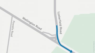 Map showing left turn onto Wellington Road from Lysterfield Road