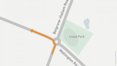 Map showing left turn onto Wellington Road from Belgrave-Hallam Road