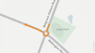 Map showing right turn onto Wellington Road from Belgrave-Hallam Road