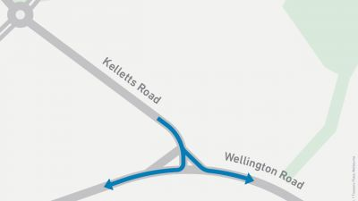 Map showing turns onto Wellington Road from Kelletts Road