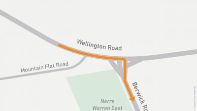 Map showing right turn onto Berwick Road from Wellington Road