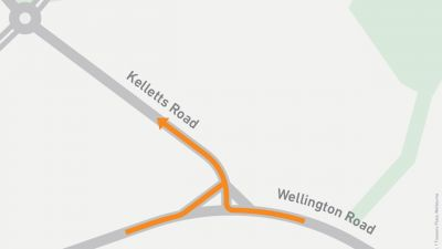 Map Showing turns onto Kelletts Road from Wellington Road