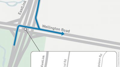 Map showing turns onto Wellington Road from EastLink