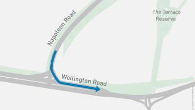 Map showing left turn onto Wellington Road from Napoleon Road