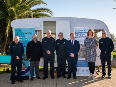 Police and community members in Frankston attend the launch of the Frankston First Network project