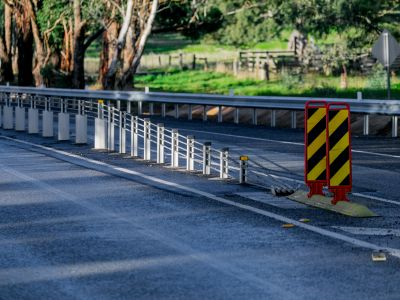 Flexible Safety Barriers example. Barriers that prevent vehicles from running off the side of the road or into the path of oncoming traffic