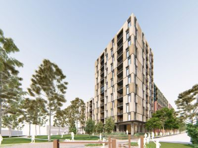 Artist impression of building D looking from the park at Princes Street