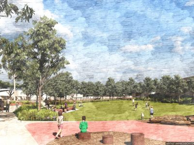 Green space in Lorne Parade includes shelters, seating and landscaping with an open grassed area.